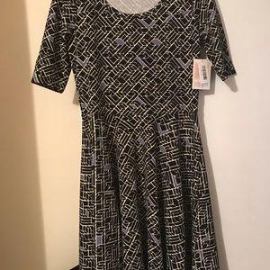 Dresses & Skirts - Lularue Dress black beige lavender design prettyXL